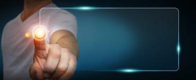 Biznesmen używa dotykowego interfejs sieci adresu baru kipiel dalej ja Zdjęcia Stock