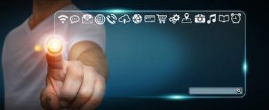 Biznesmen używa dotykowego interfejs sieci adresu baru kipiel dalej ja Obrazy Royalty Free