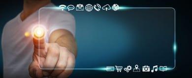 Biznesmen używa dotykowego interfejs sieci adresu baru kipiel dalej ja Zdjęcie Royalty Free