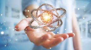 Biznesmen używa futurystycznego torus textured protestuje 3D rendering Obrazy Royalty Free