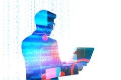 Biznesmen używa laptop z HTML kodem Obraz Royalty Free