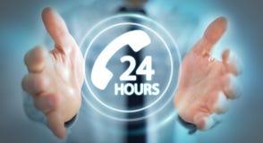 Biznesmen używa linia specjalna klienta pomocy 3D rendering Obraz Stock