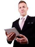 Biznesmen używa pastylka komputer osobistego. Obrazy Royalty Free