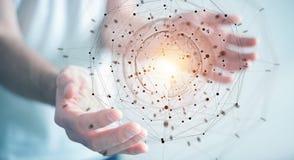 Biznesmen używa planety sieci sfery 3D ziemskiego rendering Obraz Stock
