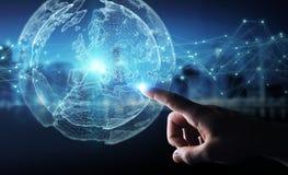 Biznesmen używa planety sieci sfery 3D ziemskiego rendering Obrazy Stock