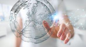 Biznesmen używa planety sieci sfery 3D ziemskiego rendering Zdjęcie Royalty Free