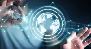 Biznesmen używa planety sieci sfery 3D ziemskiego rendering Fotografia Royalty Free