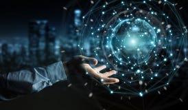 Biznesmen używa planety sieci sfery 3D ziemskiego rendering Obraz Royalty Free