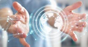 Biznesmen używa planety sieci sfery 3D ziemskiego rendering Zdjęcia Stock