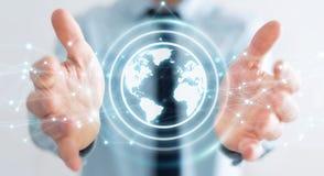 Biznesmen używa planety sieci sfery 3D ziemskiego rendering Zdjęcie Stock