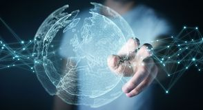 Biznesmen używa planety sieci sfery 3D ziemskiego rendering Zdjęcia Royalty Free