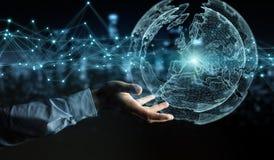 Biznesmen używa planety sieci sfery 3D ziemskiego rendering Fotografia Stock