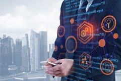 Biznesmen używa smartphone z HTML kodem Zdjęcie Stock