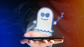 Biznesmen używa smartphone z widmo procesoru atakiem w Zdjęcia Royalty Free