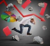 Biznesmen ucieka od kryzysu Obraz Stock