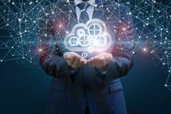 Biznesmen ustawia - w górę dane chmury w sieci Zdjęcie Stock