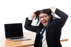 Biznesmen w biznesowym pojęciu odizolowywającym na bielu Zdjęcia Stock