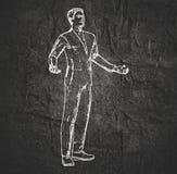 Biznesmen w czarownik pozie royalty ilustracja
