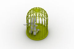 Biznesmen w 3d ptasiej klatce Fotografia Royalty Free