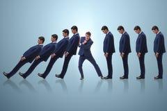 Biznesmen w domino skutka biznesu pojęciu zdjęcie royalty free
