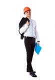 Biznesmen w hełmie z błękitną falcówką obrazy royalty free