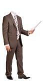 Biznesmen w kostiumu bez głowy, trzyma pusty obrazy royalty free