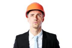 Biznesmen w pomarańczowym hełmie fotografia stock