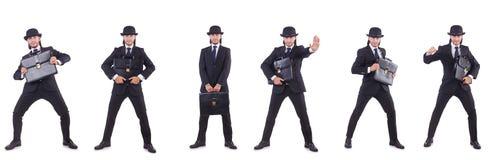 Biznesmen w rocznika pojęciu odizolowywającym na bielu Zdjęcia Royalty Free