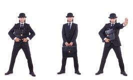 Biznesmen w rocznika pojęciu odizolowywającym na bielu Obrazy Royalty Free