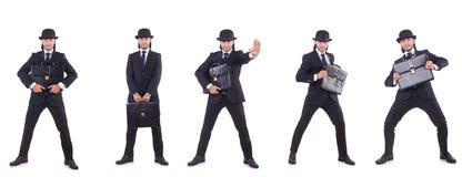 Biznesmen w rocznika pojęciu odizolowywającym na bielu Obraz Royalty Free