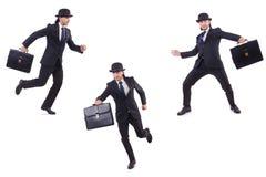 Biznesmen w rocznika pojęciu odizolowywającym na bielu Obraz Stock