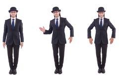 Biznesmen w rocznika pojęciu odizolowywającym na bielu Zdjęcie Royalty Free