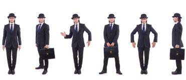 Biznesmen w rocznika pojęciu odizolowywającym na bielu Zdjęcie Stock