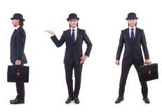 Biznesmen w rocznika pojęciu odizolowywającym na bielu Fotografia Royalty Free