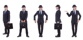 Biznesmen w rocznika pojęciu na bielu Fotografia Royalty Free