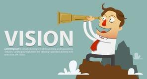 Biznesmen w, spojrzenia przez teleskopu czerwonej krawat pozyci na górze góry i i Wektorowa kreskówka Zdjęcie Stock