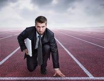 Biznesmen w sportowej pozyci Fotografia Stock