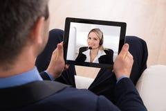 Biznesmen wideo konferencja Zdjęcie Royalty Free