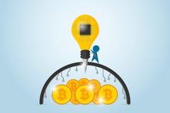 Biznesmen wiertnicza bariera z lightbulb świderem i układu scalonego procesorem znajdować bitcoins, pomysł i biznesu pojęcie, Fotografia Royalty Free