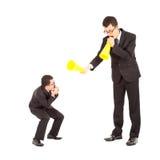 Biznesmen wina lub zachęca pracownik z megafonem Obraz Royalty Free