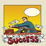 Biznesmen wioślarska łódź sukces ilustracji