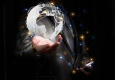 Biznesmen wirking z globalizacja pojęciem, przedstawienie Afryka Cont Obraz Royalty Free