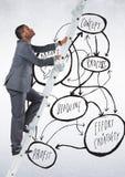 Biznesmen wspina się drabinę przeciw planu biznesowego pojęciu w tle Fotografia Stock