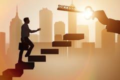 Biznesmen wspina się kariery drabinę sukces Obrazy Stock