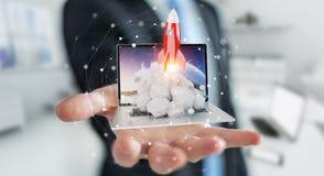 Biznesmen wszczyna od laptopu 3D renderingu z rakietą Obraz Royalty Free