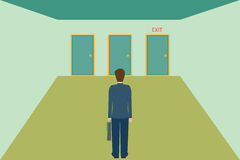 Biznesmen wybiera wyjścia drzwi Zdjęcia Stock