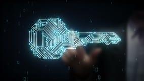 Biznesmen wzruszającej ochrony kluczowy system, znaleziska rozwiązania pojęcia technologia royalty ilustracja