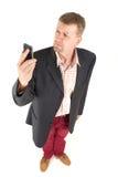 Biznesmen z śmiesznym widokiem fotografia stock