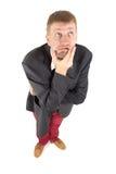 Biznesmen z śmiesznym widokiem zdjęcia stock