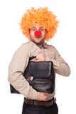 Biznesmen z błazenu nosem i peruką Zdjęcie Royalty Free
